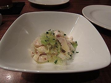 グリエ ジョー(grillerjoe)の付け出しの鴨肉と野菜の料理