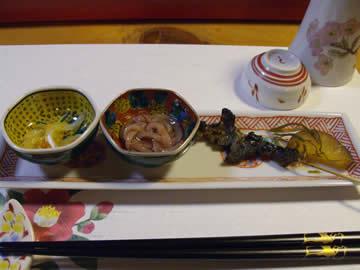 鏑木商舗のどじょう蒲焼・珍味2種・薩摩芋の切り昆布煮