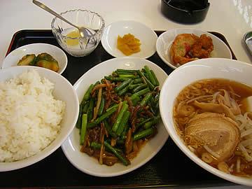 華府味道のにんにく芽牛肉炒め定食