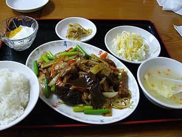 華林楼の牛肉黒胡椒炒め定食