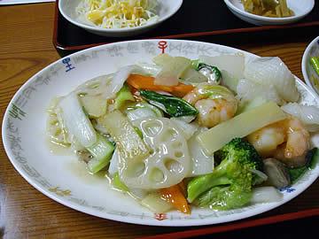 華林楼の海鮮野菜の塩味炒め定食