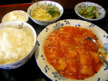 中華料理香林のエビのチリソース煮定食