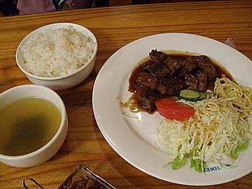 カフェレストラン マリナーズの牛肉ひとくちステーキ定食