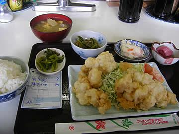 お食事処みずの白子の天麩羅定食