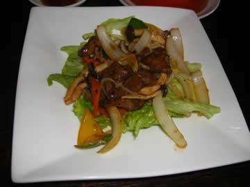 上海老街の牛肉のオイスターソース炒め
