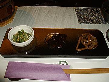 食楽空間 朋の付け出し3品の料理