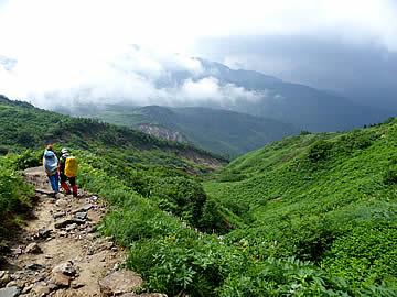 白山の登山道と風景